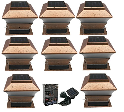 8 pack outdoor garden solar led copper post cap fence for Flat pack garden decking