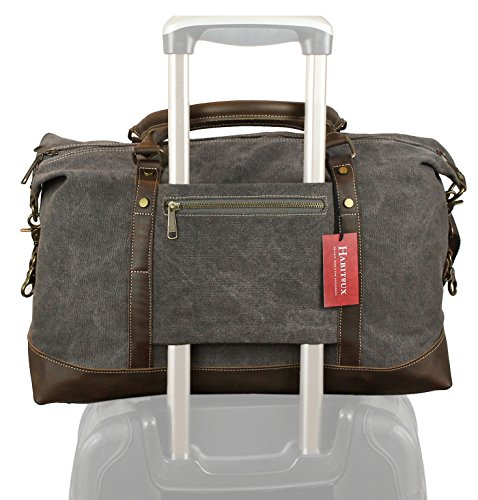 (Weekender Duffel Bag Travel Tote - Canvas Genuine Leather Overnight Bag)