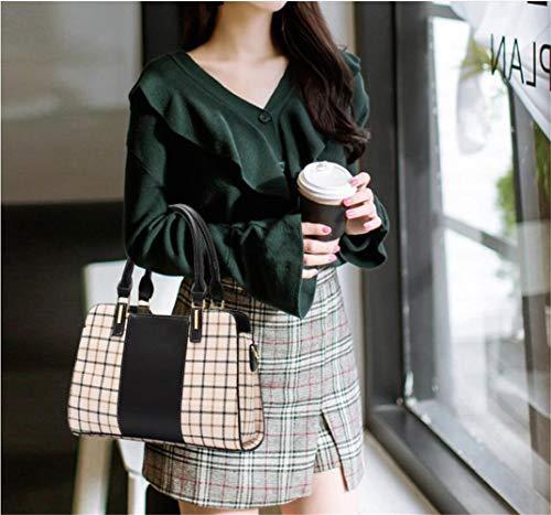 Bag Trend Check Pu Black Bag RFVBNM Messenger Mother Mobile The Shoulder of Ladies Version Killer Bag Korean Red Female Bag Bag q6wCOwF