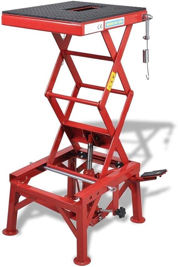 Plataforma elevadora para Motocicleta, Elevador de Motocicleta Caballete Elevador Moto Gancho y Barra de Bloqueo + Pedal de Elevación + Válvula de Descarga hasta 135 kg, 35 x 41 cm: Amazon.es: Coche y moto