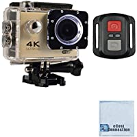 eCostConnection 4K Ultra HD 16MP WiFi Waterproof Sports Action Camera 2.0 (Gold) with Anti-Shake DSP and Wrist RF Remote + eCostConnection Microfiber Cloth