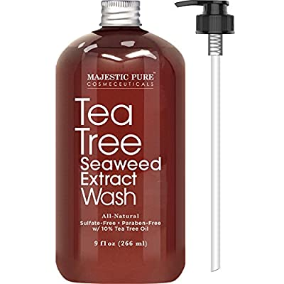 Antifungal Tea Tree Body Wash, All Natural Soap for Men and Women with 10% Tea Tree Oil, Helps Nail Fungus, Athletes Foot, Ringworms, Jock Itch, Acne, Eczema & Body Odor, 9 fl. oz