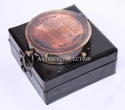 antiquecollectionヴィンテージアンティークロバート?フロスト詩コンパスwithボックス