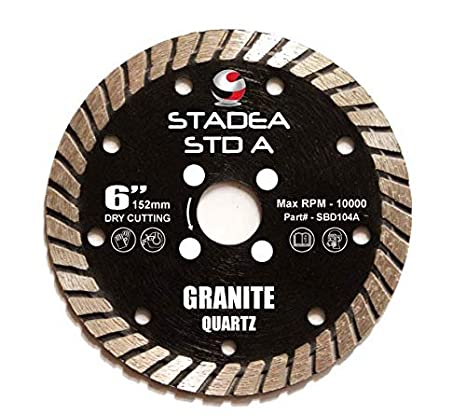 Stadea SBD104A Diamond Saw Blade 6-Inch Continuous Turbo 10 MM Segments For Grinder Granite