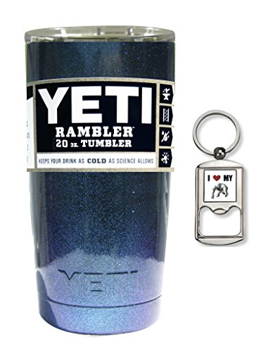 YETI Coolers Custom Powder Coated or Hydro Dipped Insulated Stainless Steel 20 Ounce (20 oz) (20oz) Rambler Travel Tumbler Cup Mug with Lid and Bottle Opener Keychain (Chameleon Teal Sparkle)