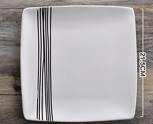 king's deal-TM Pack of 1 Pcs Authentic 8.5 inch of ceramic restaurant steak dishes Dinner Plate (white)