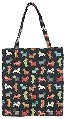 (Signare Tapestry Reusable Grocery Eco Friendly Shopping Tote Bag in Dog Design (Playful Puppy))