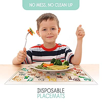 Fawn Hill Co. Disposable Placemats for Children & Baby | 60 Peel & Stick-On Adhesive Table Topper | ABC's & Number Educational Animal Sticky Mat for Restaurants | Toddler Food & Kid Mat | 60 Count