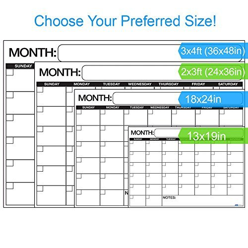 """Best LARGE Dry Erase Wall Calendar Planner & Organizer 18"""" X 24"""" in Laminated Dry or Wet Erase Print Squares to Plan Your Whole Day - Perfect for School Classes Office Cubical Home College Dorms"""