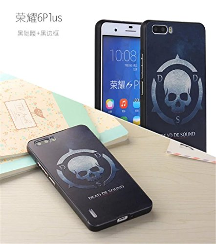 For HUAWEI HONOR 6 PLUS,DAYJOY Unique Design Ultra Thin Aluminum Alloy Protective Metal Frame Bumper case With Relief 3D Painting Design Acrylic PC Back Cover Shell + 1PC tempered glass screen protector film for HUAWEI HONOR 6 PLUS (A)