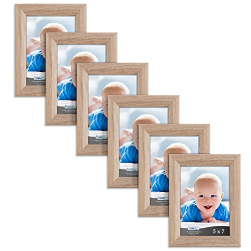 e Frame (6 Pack, Weathered Oak Wood Finish), Photo Frame 5 x 7, Composite Wood Frame for Walls or Tables, Set of 6 Cherished Memories Collection ()