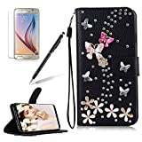 Girlyard For Samsung Galaxy S8 Diamond Wallet Leather Case Cover Bling Glitter Crystal PU Leather Folio Flip Stand Protective Magnetic Case Cover with Wrist Strap and Card Slots Black Butterfly Flower