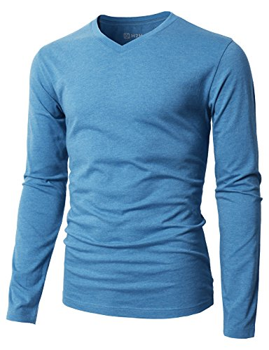 H2H Mens Casual Lightweight Cotton V-Neck Long Sleeve T-Shirts ULTRAMARINEBLUE US 3XL/Asia 4XL (KMTTL0374)