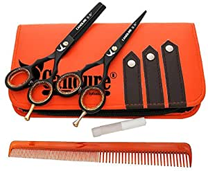 """CANDURE® - 5.5"""" tijeras de peluquería profesional - Deep Negro - tijeras de peluquería - Tornillo Fijar pelo de peluquería tijeras del corte del peluquero y salón de adelgazamiento Tijeras Set"""