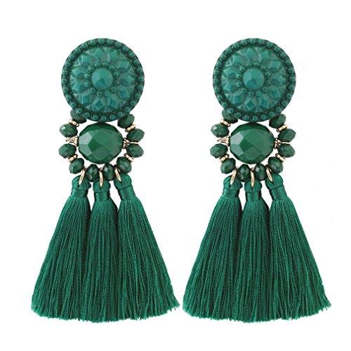 Green Beads Chandelier Earrings (Boderier Bohemian Statement Thread Tassel Chandelier Drop Dangle Earrings with Cassandra Button Stud (Deep Green))