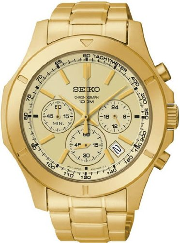 Seiko Chronograph Gold Dial Gold-tone Steel Mens Watch SSB112, Watch Central