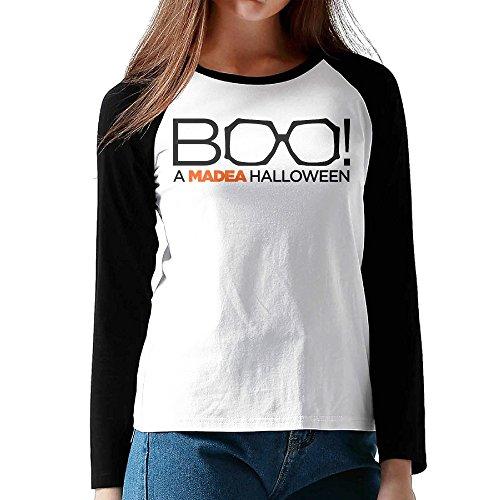 HROSE US Comedy Horror Film Women Athletic Reglan Sleeve Crew Neck T-shirt Large