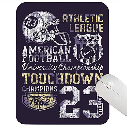 Sports Support Mouse pad Retro Style American Football College Theme Illustration Athletic Championship Apparel Mouse pad Purple 12