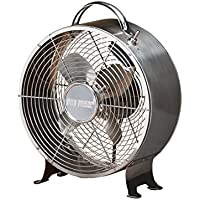 DecoBREEZE Retro Table Fan Air Circulator Fan, Brushed Stainless