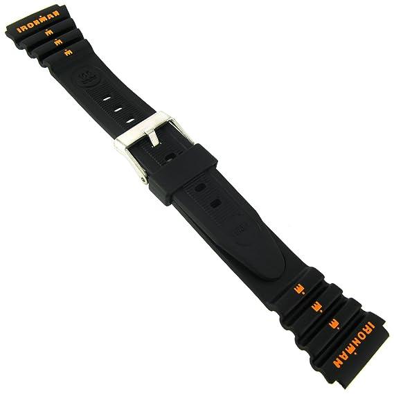 19 mm Timex Ironman triatlón negro y naranja de goma reloj deportivo correa de banda: Amazon.es: Relojes