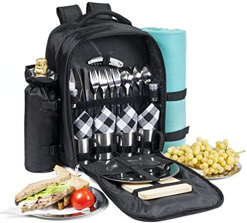 One Savvy Girl Picnic Backpack for 4 with Premium Stainless Steel Tableware – Complete 4 Person Picnic Basket Set w Blanket, Insulated Food Cooler Bag, Wine Opener, Cheese Board, Napkins More