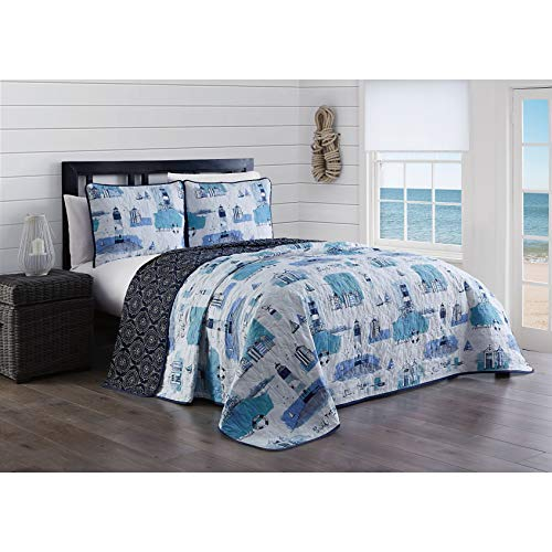 MISC 3 Piece Nautical Sailboat Lighthouse Quilt Set King Size Coastal Beach Theme Harbor Bedding Anchor Quilted Coverlet Reversible to Dark Medallion Print