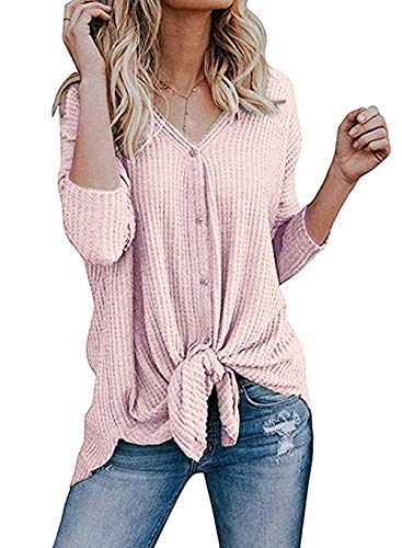 Roselux Womens Henley Shirts Long Sleeve Waffle Knit Tunic Blouse Tie Knot Button Down Loose Fitting Tops (Light - Cloth Knot Womens