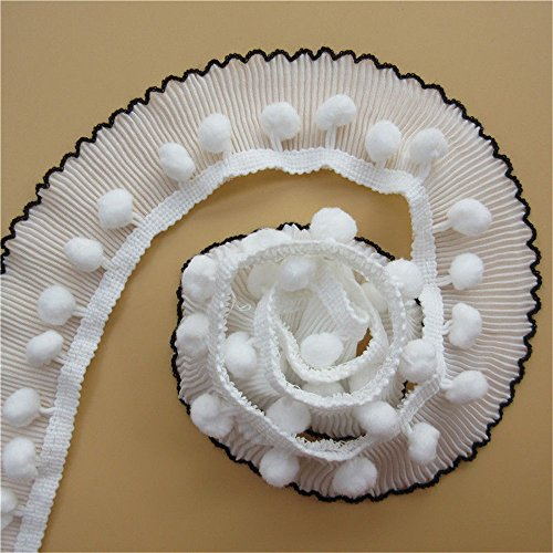 3 Meters Elastic Pleated Pom Pom Ball Lace Edge Trim Ribbon 4.8 cm Width White Trimmings Fabric Embroidered Applique Sewing Craft Wedding Bridal Dress Embellishment Party Decoration Clothes Embroidery