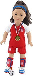 Emily Rose 18 Inch Doll Clothes for Journey Girls | World Cup USA 8 Piece 18 Inch Doll Soccer Uniform, Including Realistic Medal! | Doll Clothes Fit American Girl and Our Generation Dolls