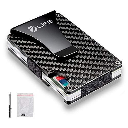 Service Carbon Fiber - Dlife Carbon Fiber Men Mini Wallet Money Clip Screw Fixation Elastic Band Credit Card Holder RFID Blocking Wallet + 1 Screwdriver & 4 Extra Screws