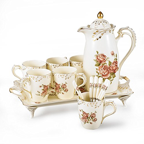 Panbado 14-Piece Ivory Porcelain Gold Rimmed Coffee Tea Set, China Hand Painted Flower Tea Service with 11