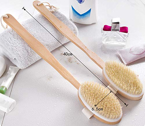 Gotian 2PC Shower Brush Bristles Exfoliating Body Massager with Long Wooden Handle - Wooden + Boar-Bristle - Brush Your Body,Remove The Body Dead Skin - 2 Pc Bath Brush (406.5cm)