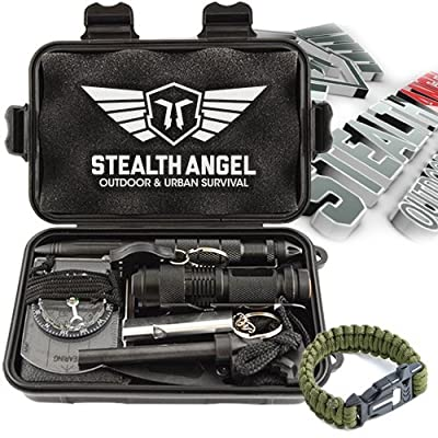 Stealth Angel Compact 9-in-1 Survival Kit with Paracord Bracelet, Multi-Purpose EDC Outdoor Emergency Tools and Evereyday Carry Gear, Official Stealth Angel Survival Kit