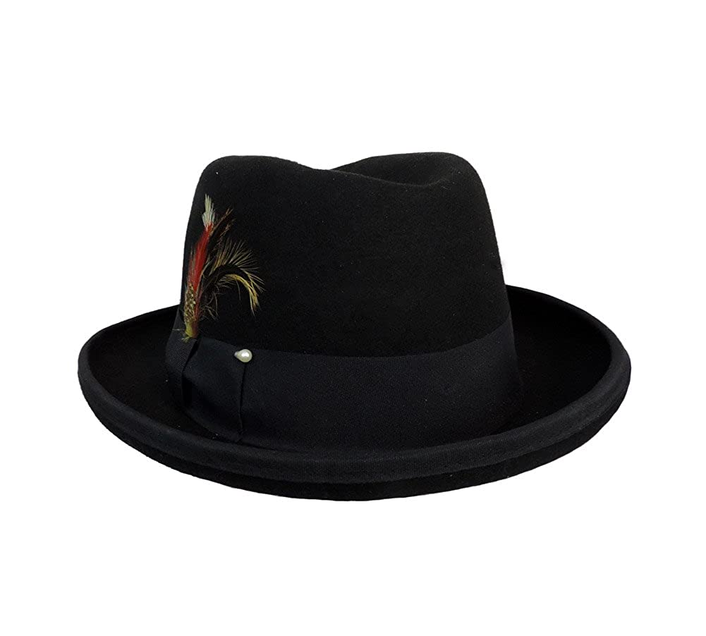 8e67e1b4e02 Men s Deluxe Wool Godfather Fedora w  Real Feather Accents at Amazon Men s  Clothing store