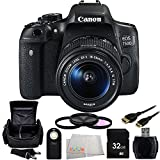 Canon EOS 750D/T6i DSLR Camera with EF-S 18-55mm f/3.5-5.6 IS STM Lens 9PC Accessory Kit. Includes 32GB Memory Card + High Speed Memory Card Reader + 3PC Filter Kit (UV-CPL-FLD) + Wireless Remote + Mini HDMI Cable + Carrying Case + MORE