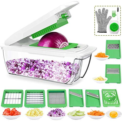 CHUGOD Vegetable Chopper Mandoline Slicer Dicer, Newly Improved Onion Cutter Heavy Duty All in One Fruit Cuber Multi Blades Kitchen Food Cheese Grater Egg Separater (Dark ()