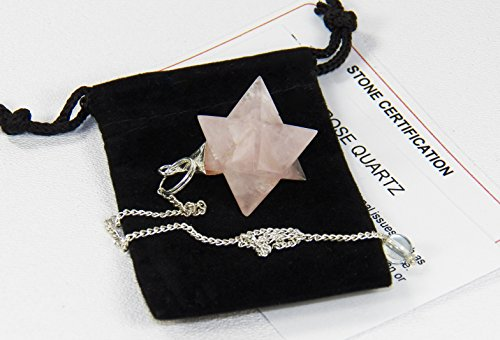 Fundamental Rockhound Products: Rose Quartz Merkaba Pendulum natural gemstone crystal with carrying pouch, info card, stone (Silver Fundamentals)