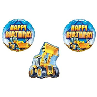 Bull DOZER Loader Construction TRUCKS Yellow BIRTHDAY Party (3) MYLAR Balloons: Kitchen & Dining