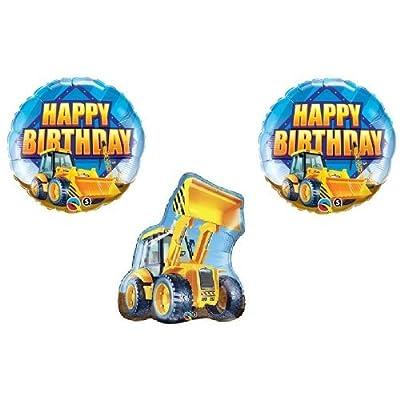 Bull DOZER Loader Construction TRUCKS Yellow BIRTHDAY Party (3) MYLAR Balloons: Kitchen & Dining
