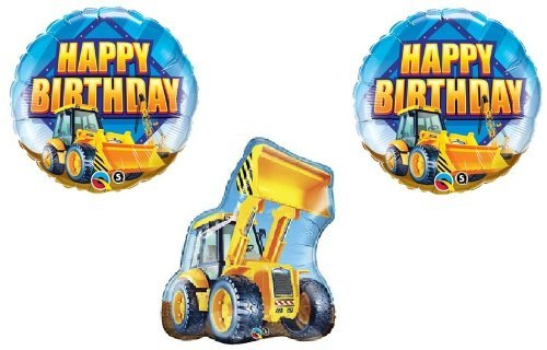Bull DOZER Loader Construction TRUCKS Yellow BIRTHDAY Party (3) MYLAR Balloons