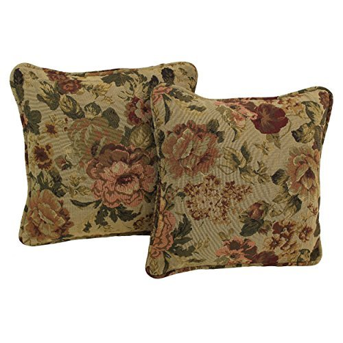 (Blazing Needles Patterned Tapestry Double-Corded Square Throw Pillows with Inserts (Set of 2), 18