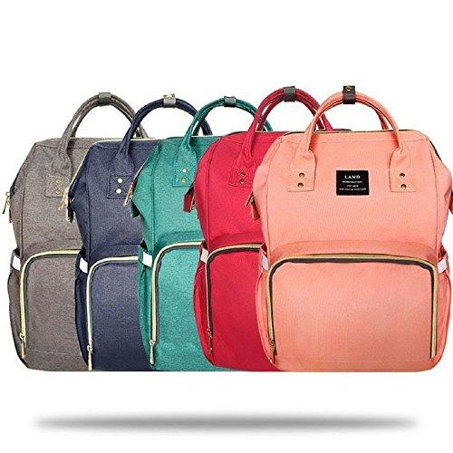 LAND Diaper Bag Nursing Backpack Waterproof Stylish and Dura