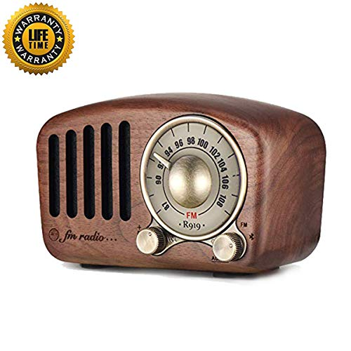 Retro FM Radio Vintage Retro Bluetooth Speaker-The Real Walnut Wooden Mini Portable Bluetooth Speakers with Old Fashioned Enjoy Stereo Rich Sound, Supports Bluetooth 4.2,AUX,TF Card MP3 Player