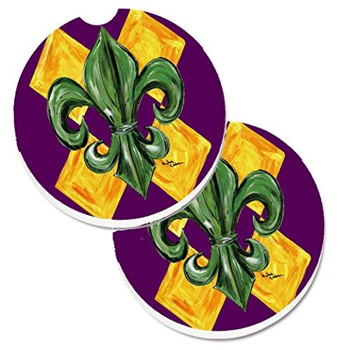 Caroline's Treasures Mardi Gras Fleur De Lis Purple green & Gold Set of 2 Cup Holder Car Coasters 8133CARC, 2.56, Multicolor