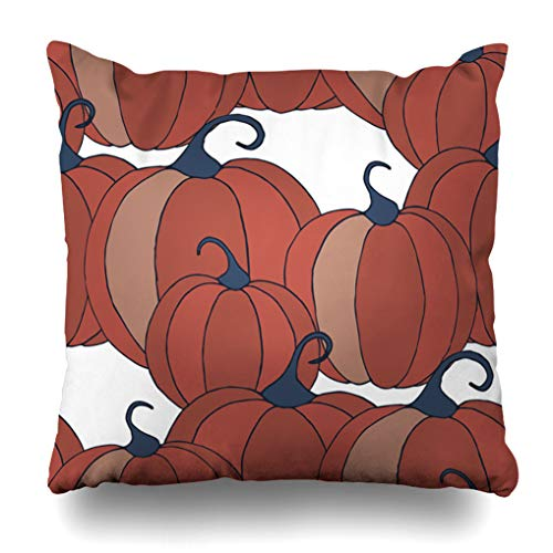 Alricc Pumpkins Pattern Christmas Halloween Background Colorful Rapport for Textile Fabric Wallpaper with Vegetables Decorative Throw Pillows Cushion Cover for Bedroom Sofa Living Room 20X20 Inches]()