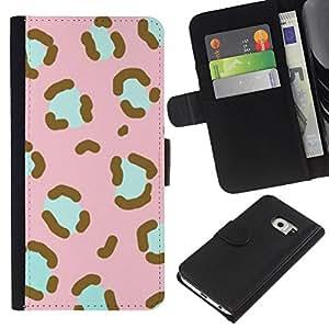 Samsung Galaxy S6 EDGE / SM-G925(NOT FOR S6!!!) Modelo colorido cuero carpeta tirón caso cubierta piel Holster Funda protección - Pattern Pink Teal Animal Fur