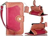 iPhone 5s, iPhone 5 & iPod Touch 5 Leather Case, Propado Genuine Leather Wallet Case with [Kickstand] [Card Holder] [Money Pocket] [Wrist Strap] for Women & Girls (Rose)