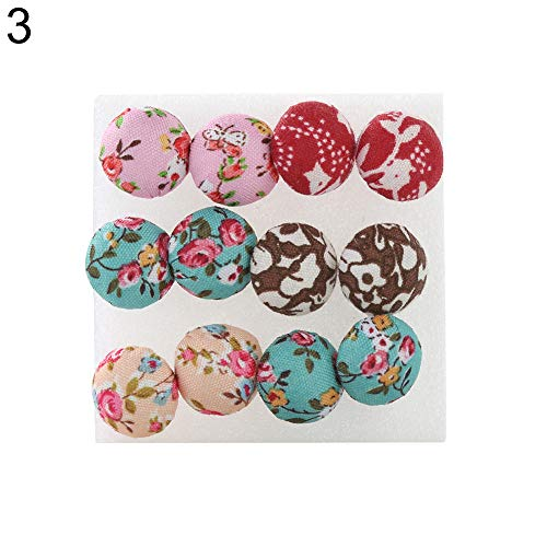 Holrea 6 Pairs Vintage Colorful Cloth Button Plastic Pin Ear Studs Earrings Creative Party Cosplay Earring Set Jewelry Gift for Women Teen Girls Kids Daily Wear ()