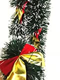 12Pcs x 6.5FT Hanging Tinsel Garland, Classic Christmas Wedding Party Holiday Tinsel Ornaments Christmas Tree Decorations, Dark Green & Bow-knot~1214S
