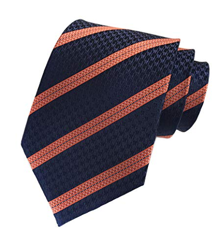 Mens Navy Blue Orange Stripe Tie Spring Seft Poly Woven Party Cool Necktie 3.15
